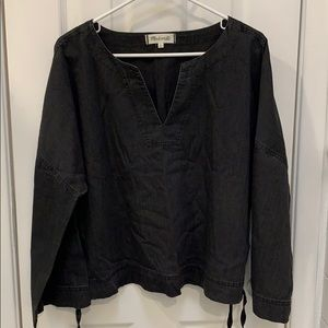 Madewell Black Cotton V-Neck Tunic